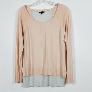 Apt. 9 Pink & White High Low Sweater Size Medium